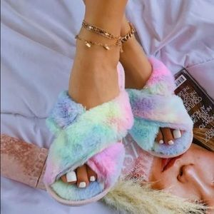 Shoes - GET COZY FLUFFY TIE DYE SLIPPERS-PINK
